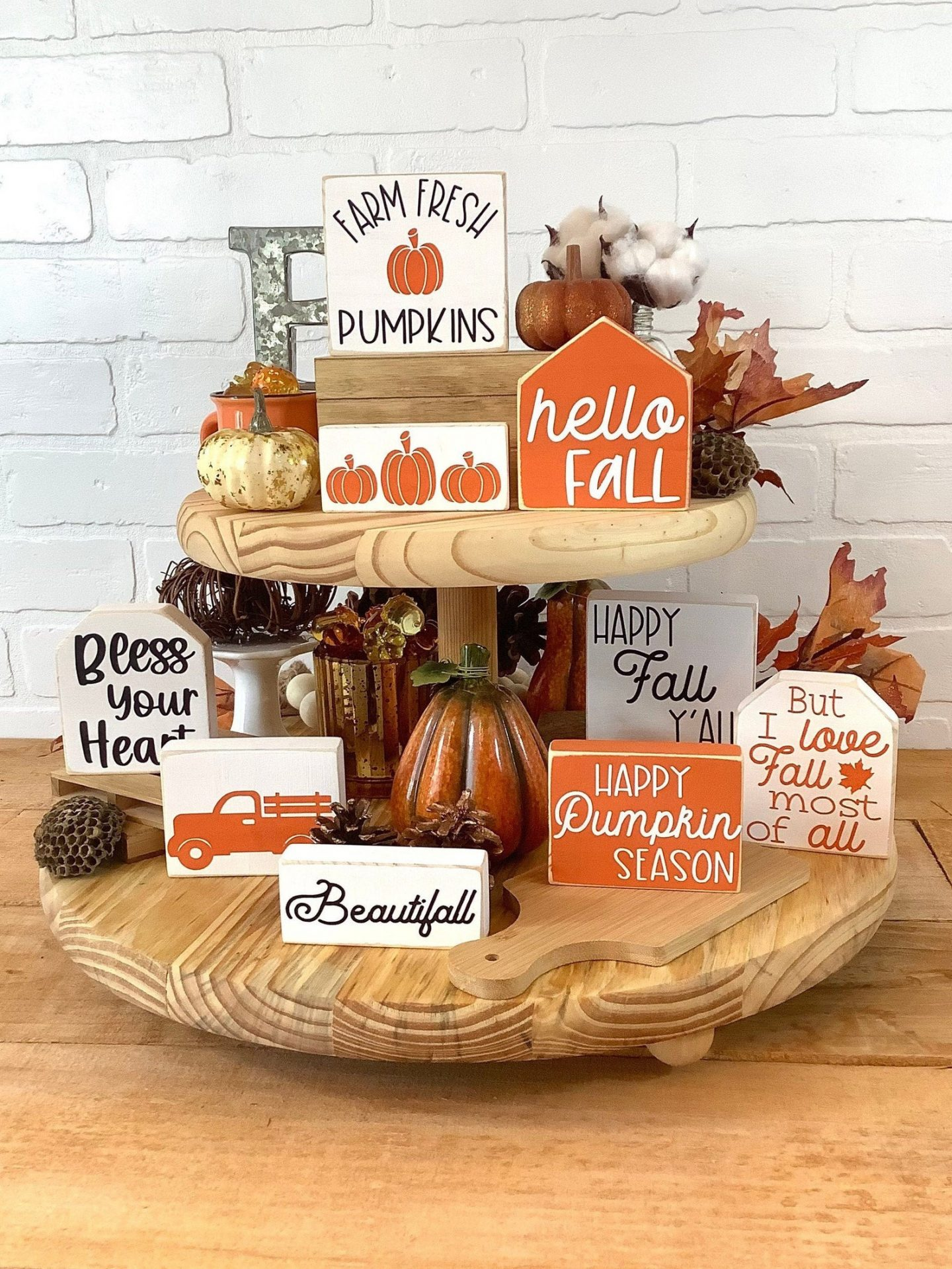 Hello Fall Tiered Tray Signs