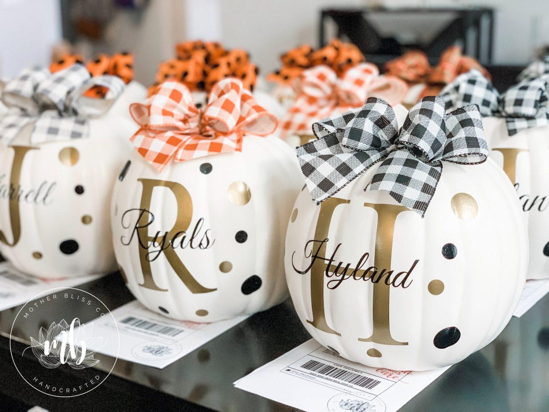 Elegant Monogram White Pumpkins With Buffalo Plaid