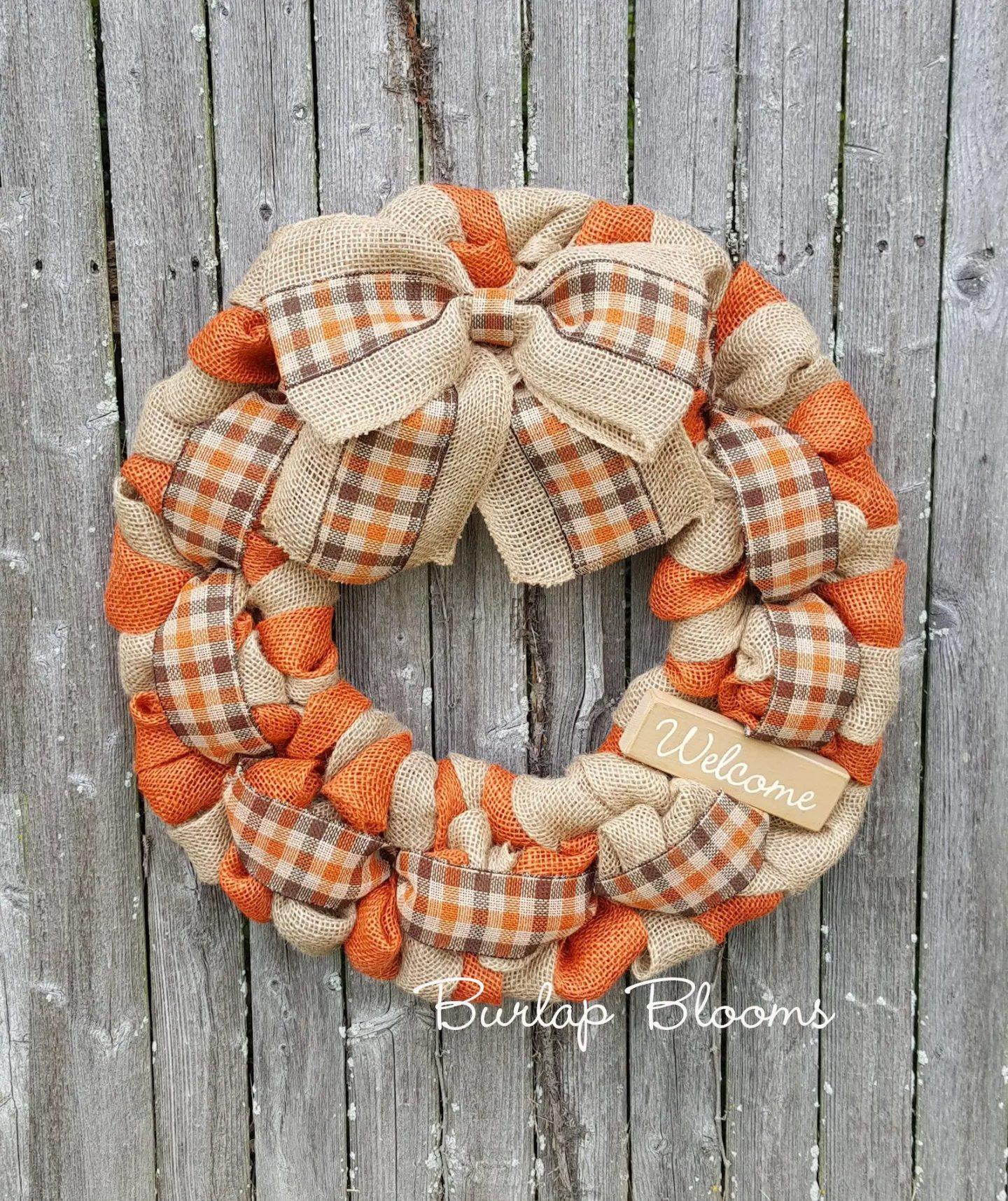 Orange burlap Thanksgiving wreath