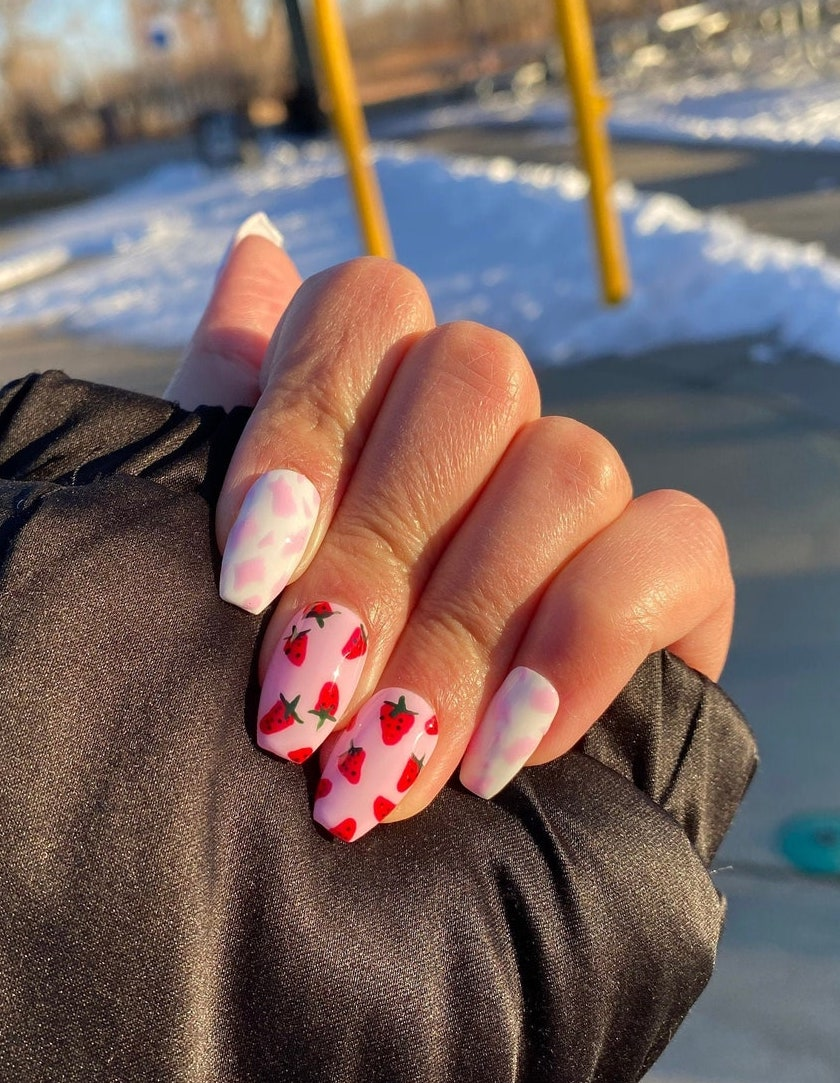 Cute short pink strawberry fruit nails