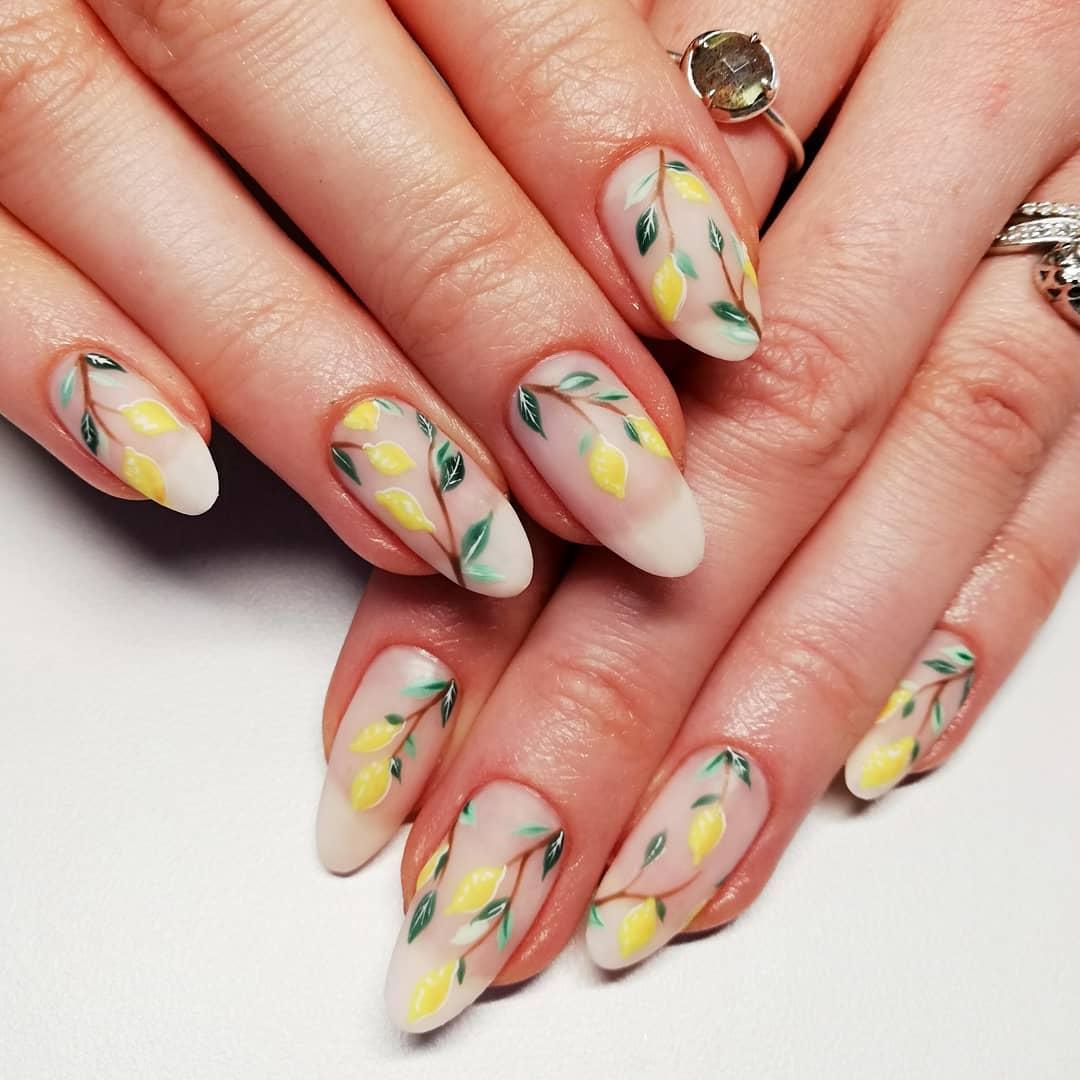 Cute matte lemon fruit nails