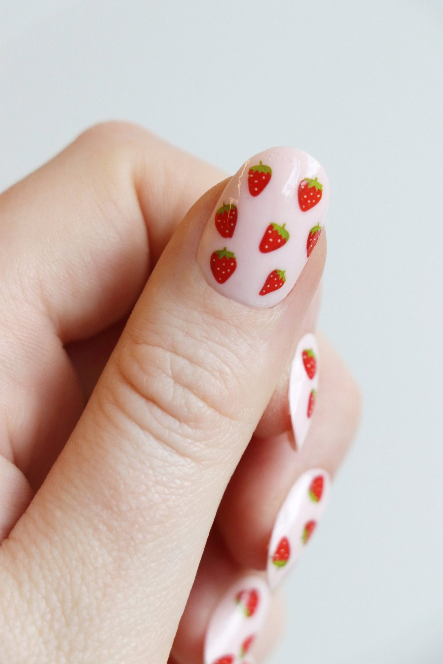 Cute and short pink strawberry nails