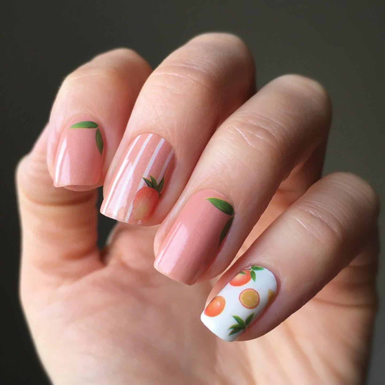 Cute short peach fruit nails