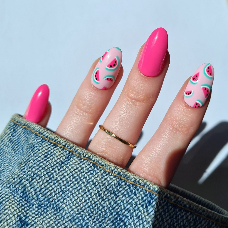 Hot pink watermelon nails with fruit nail art