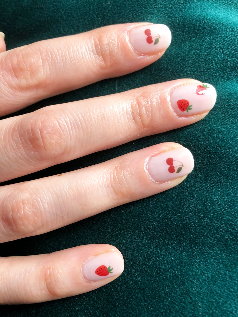 Cute minimalist cherry and strawberry nails