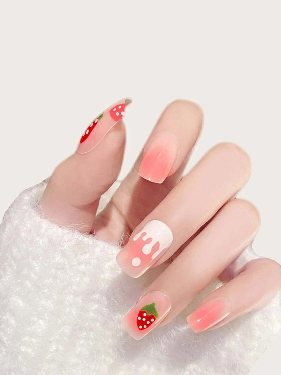 Cute pink strawberry fruit nails