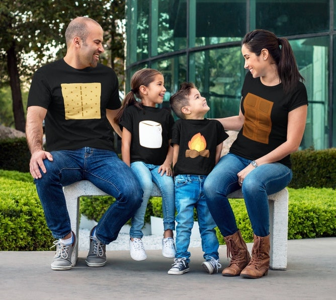 Cute s'mores family Halloween costumes for 4