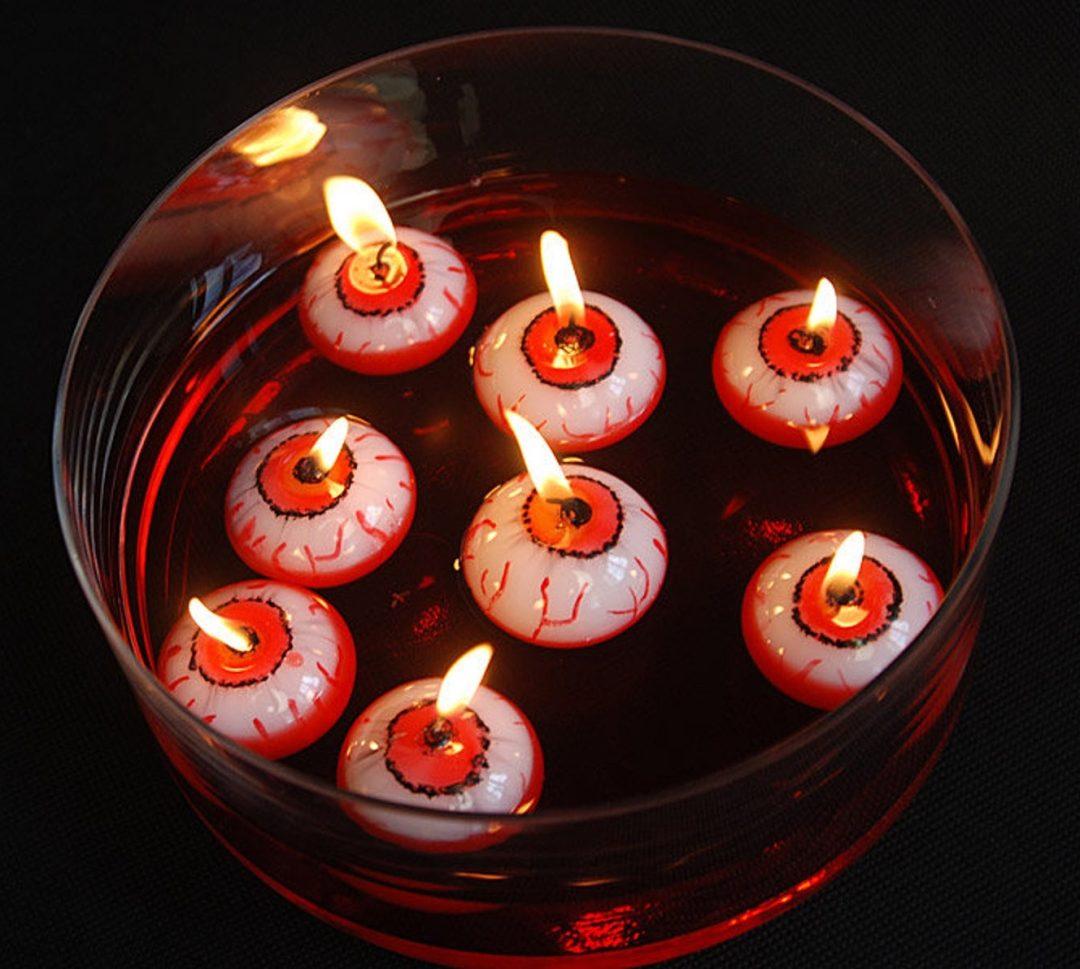 Best indoor Halloween decor idea: Floating Eyeball Candles
