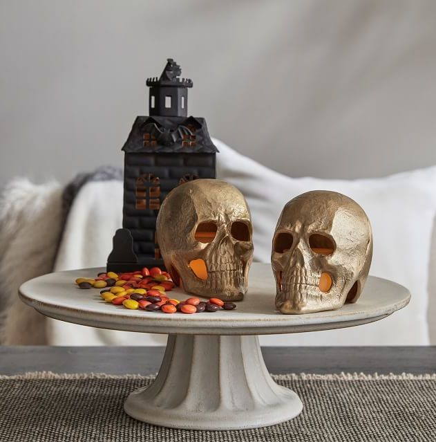 Brass Skulls with candles