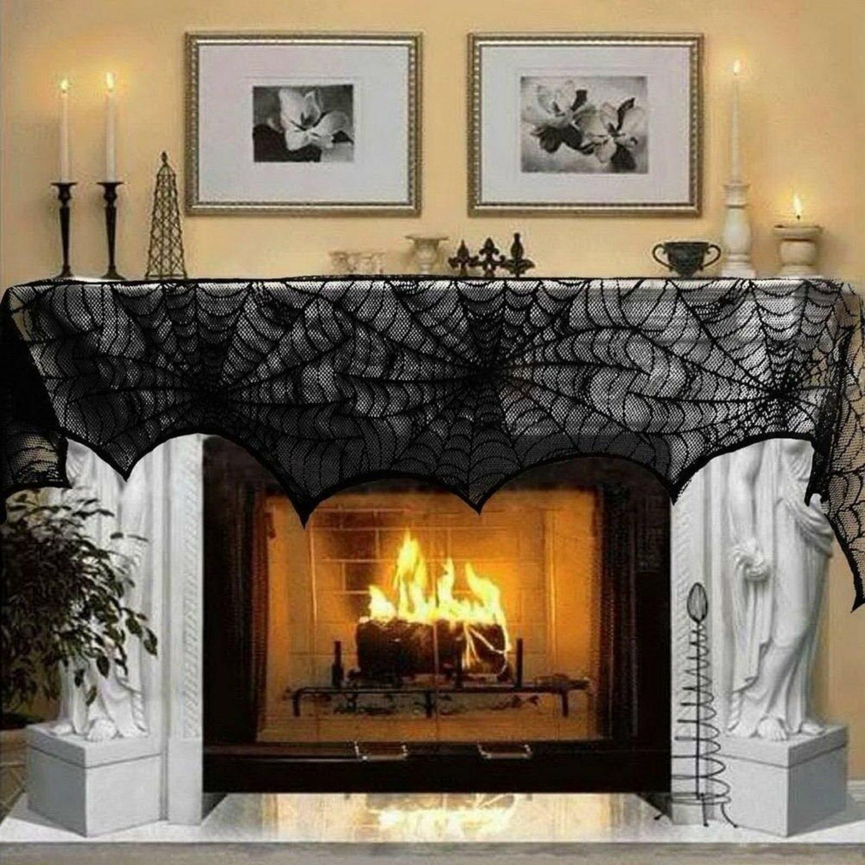 Halloween Spider Cloth Mantel Decor