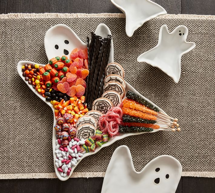 Ghost Shaped Stoneware Serving Platter