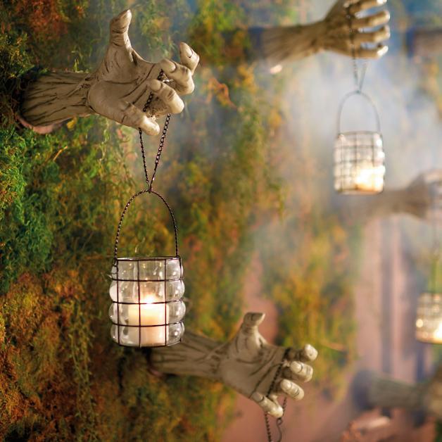 Creepy Hands With Lanterns Halloween decor