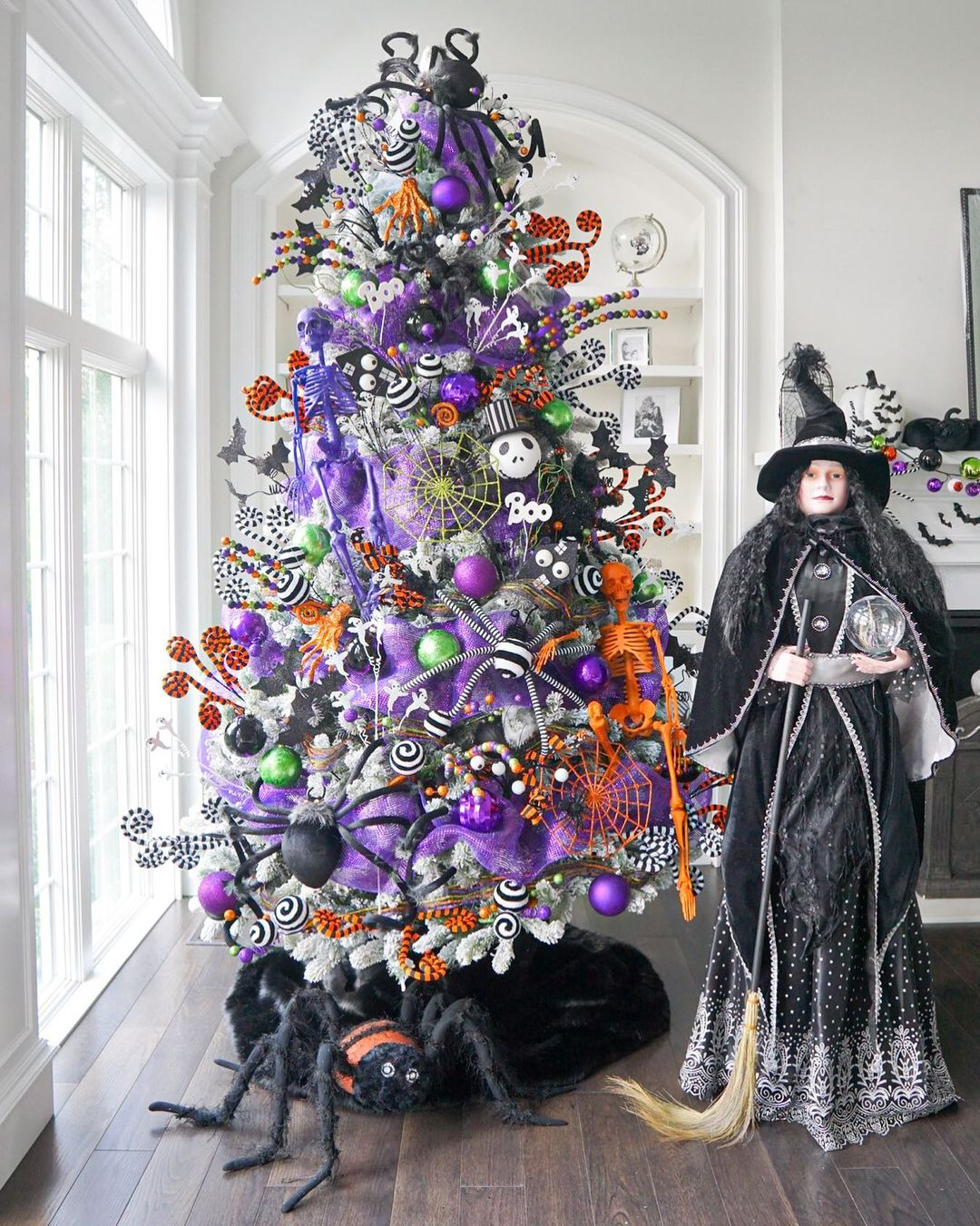 Purple Halloween tree with witch