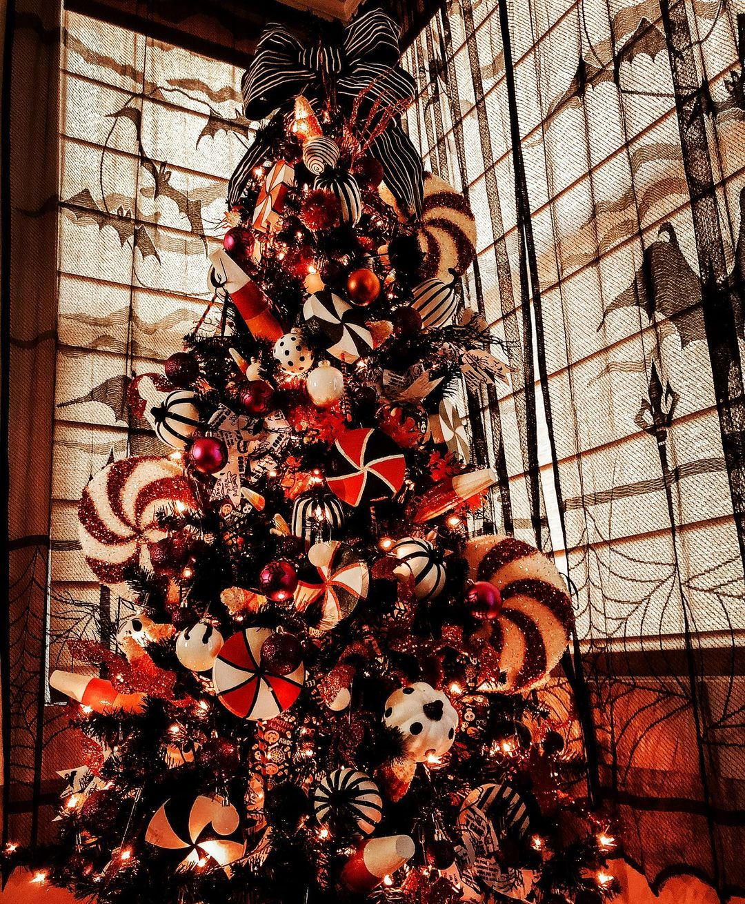 Black Halloween tree with candy canes