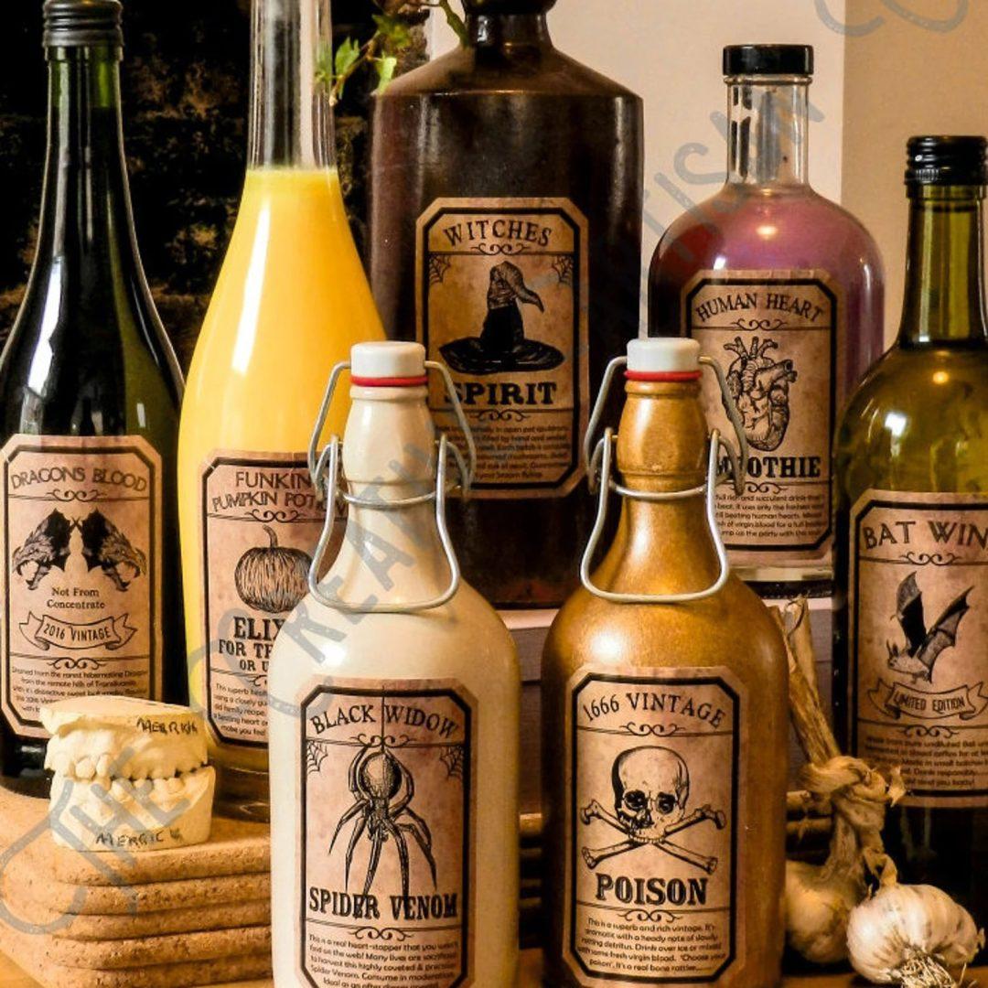 Spooky Drink Labels for indoor Halloween decor