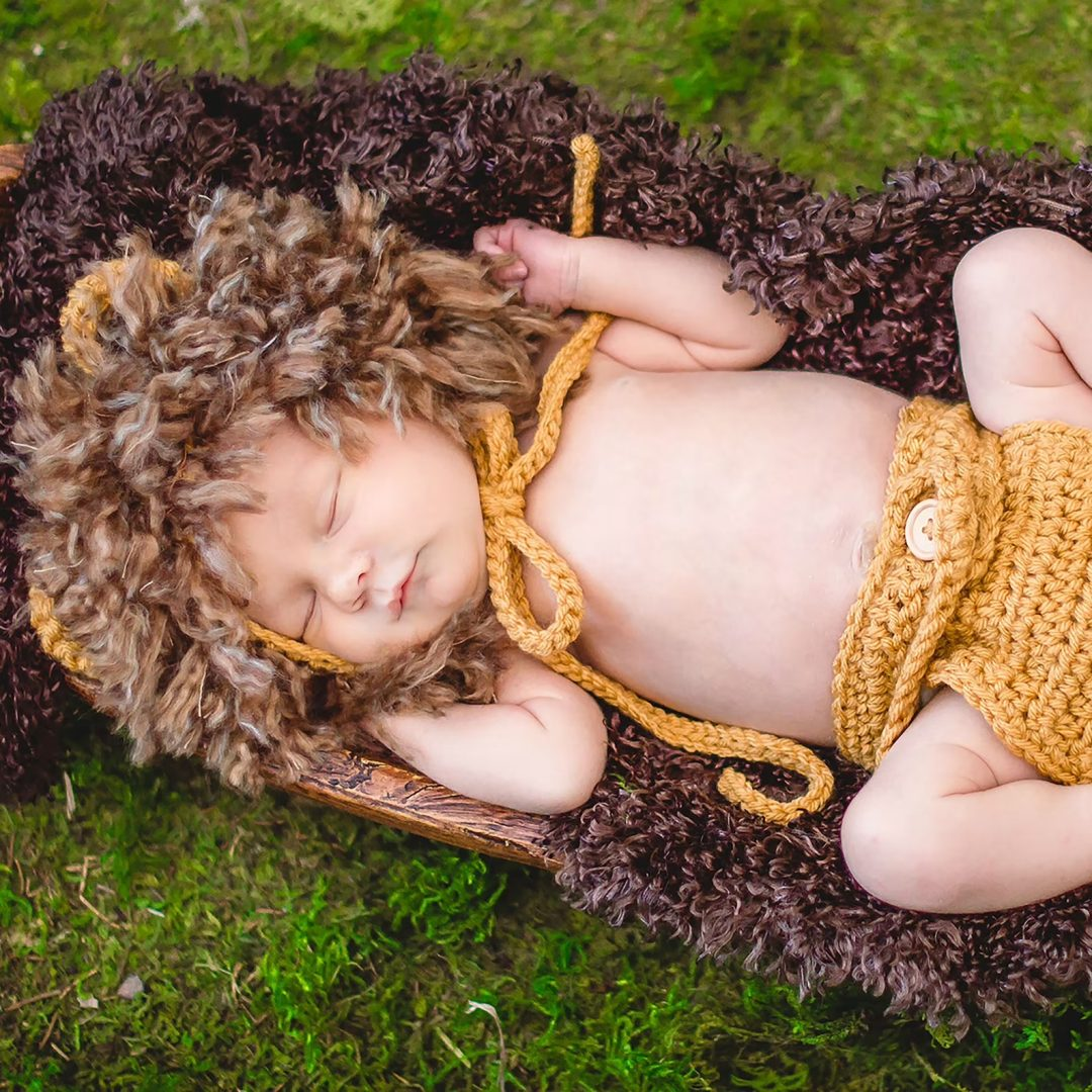 Crochet baby lion costume