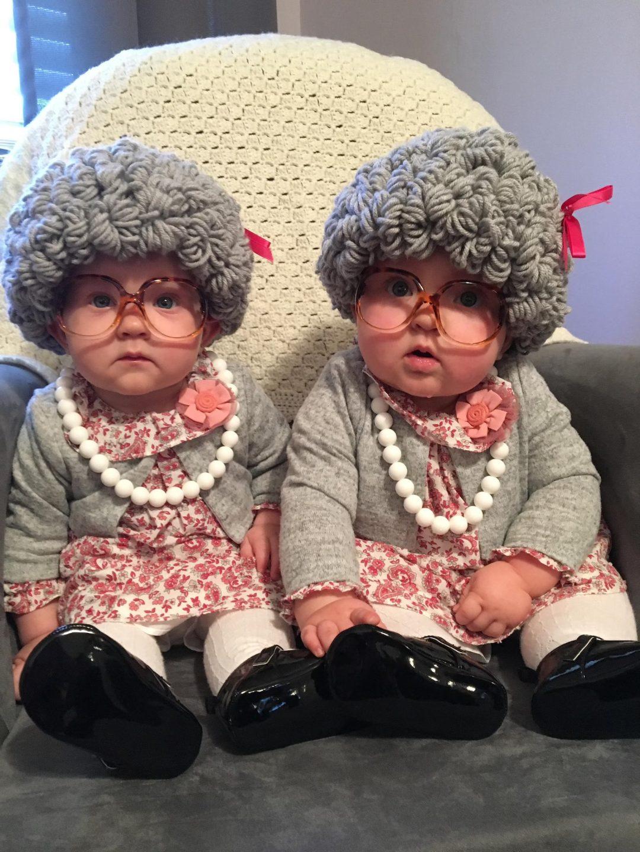 Best Newborn Halloween Costumes: old grannies