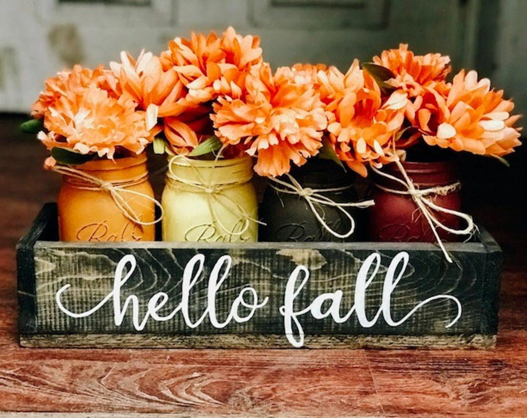 """""""Hello Fall"""" Mason Centerpiece"""