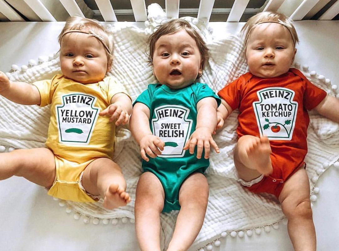 Best Newborn Halloween Costumes: Condiments onesies