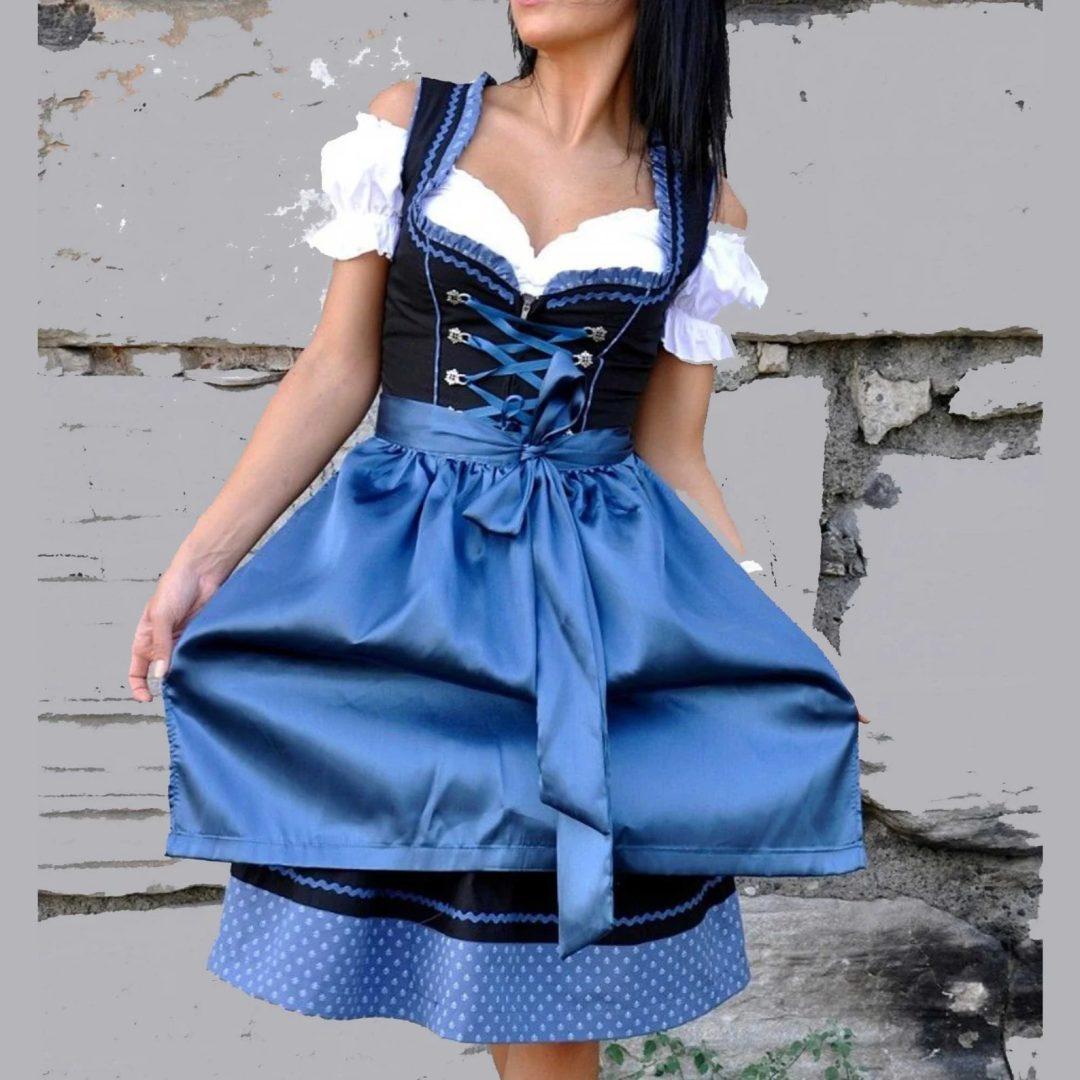 What to wear to an Oktoberfest party: Blue Oktoberfest dirndl