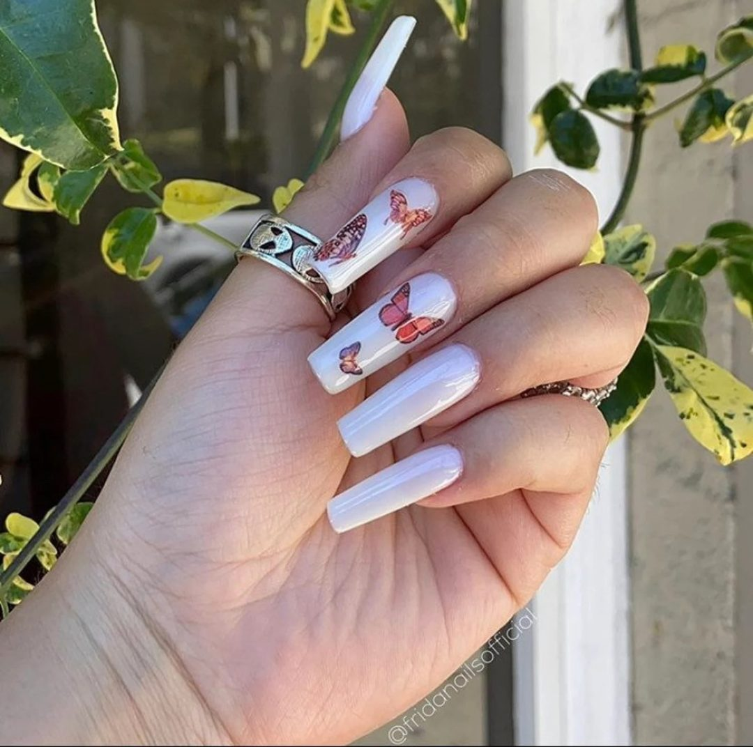 White square nails with butterfly details