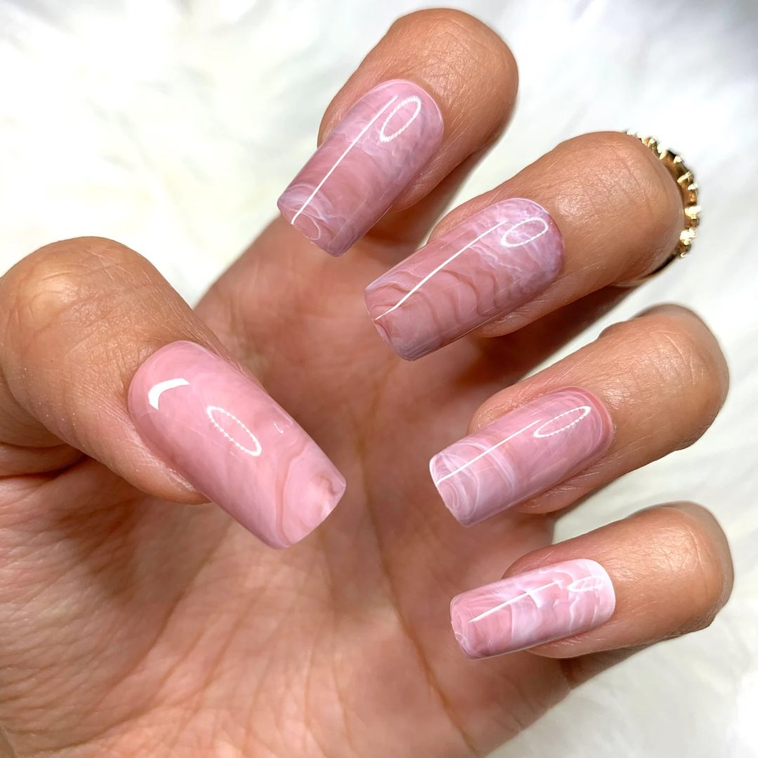 Pink marble square nails