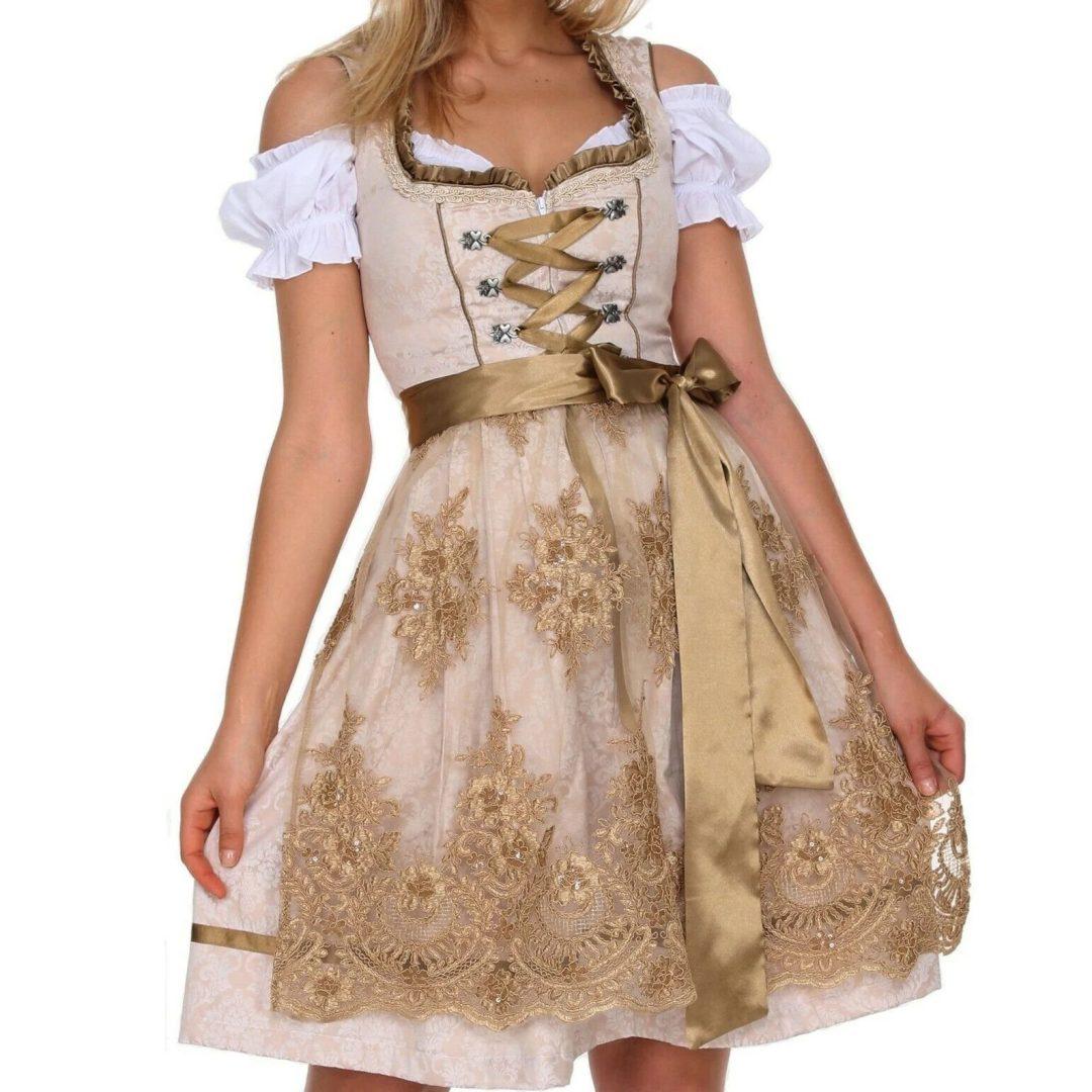 What to wear to an Oktoberfest party: Gold lace Oktoberfest dirndl dress