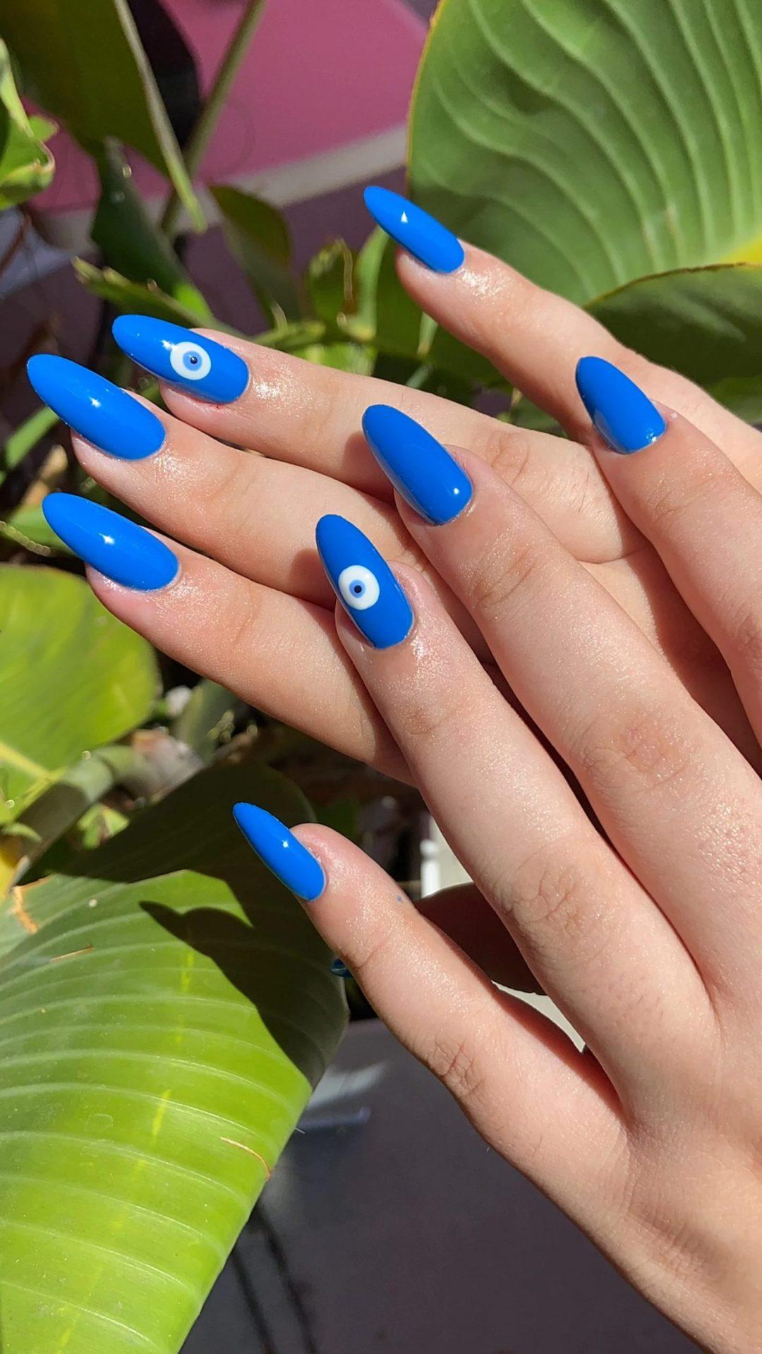 Cobalt blue evil eye nails
