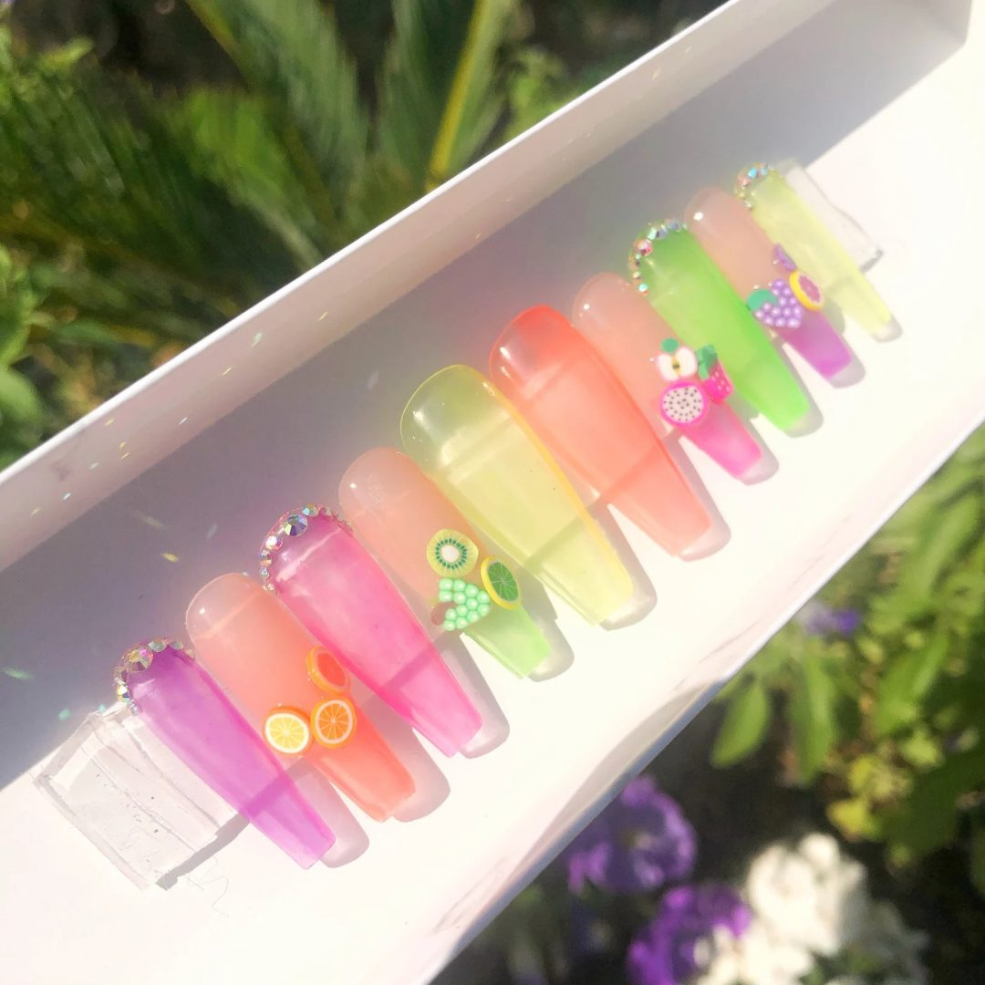 Clear jelly fruit nails