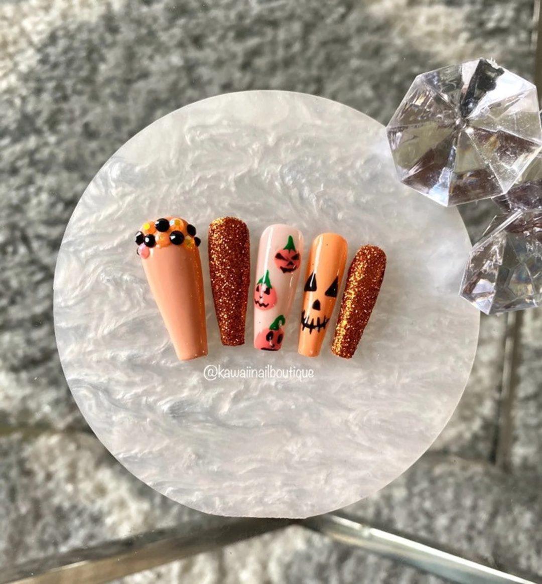 Burnt Orange Pumpkins with glitter and decals