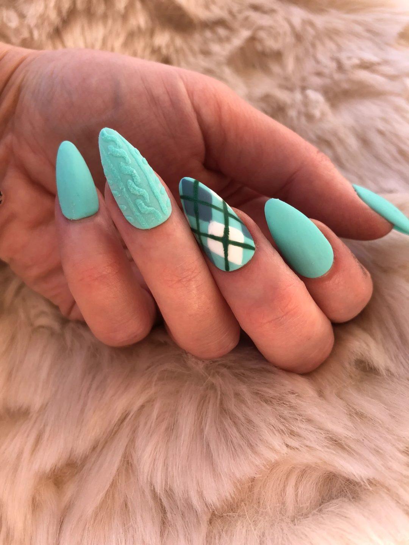Mint green plaid sweater nails