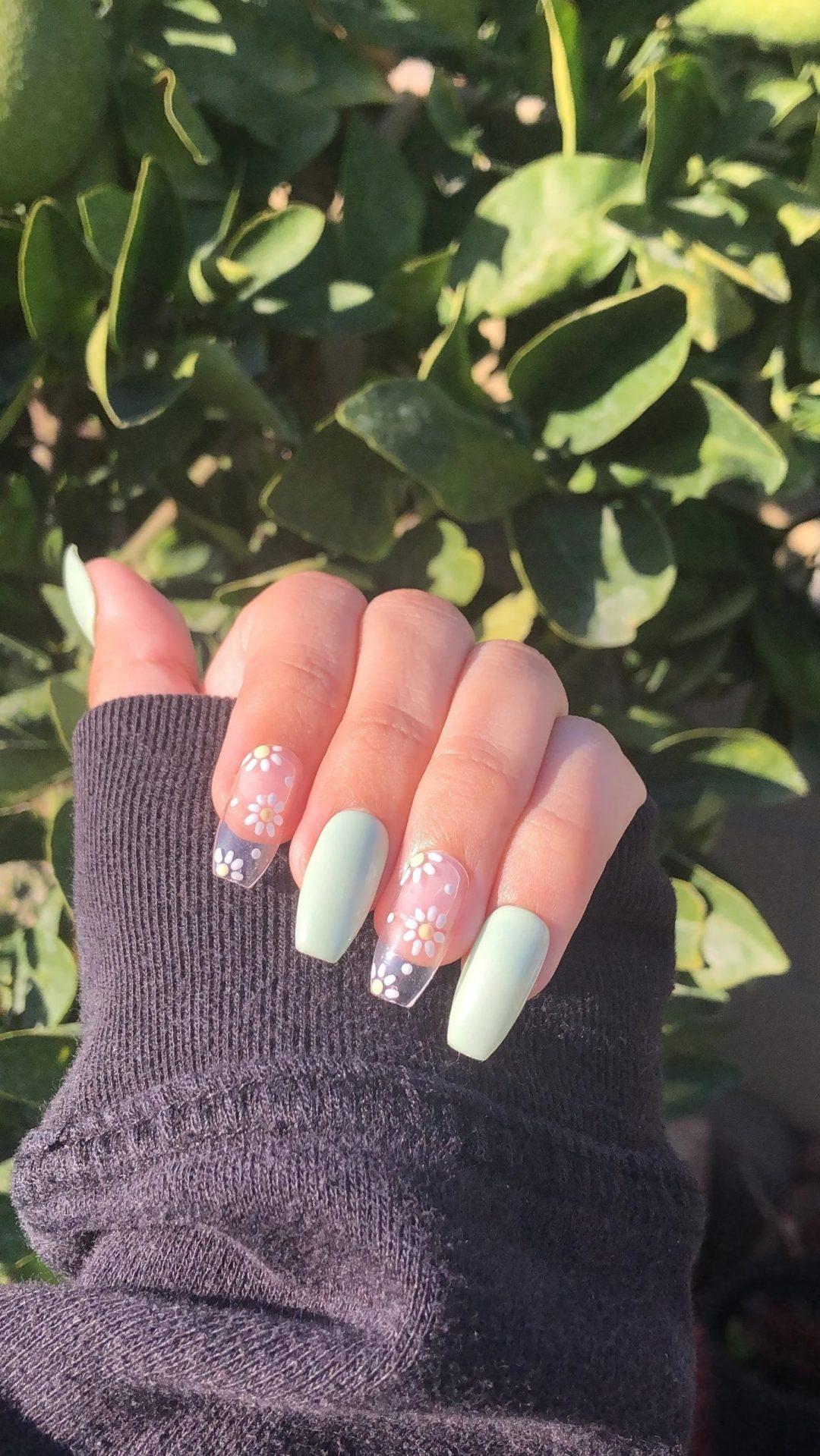 Mint green clear daisy nails