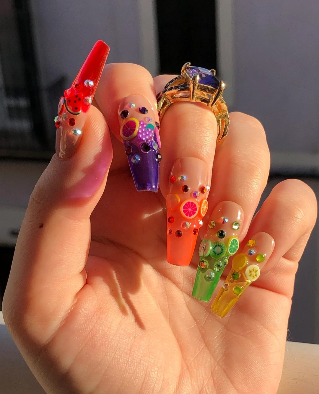 Rainbow fruit nails with decals