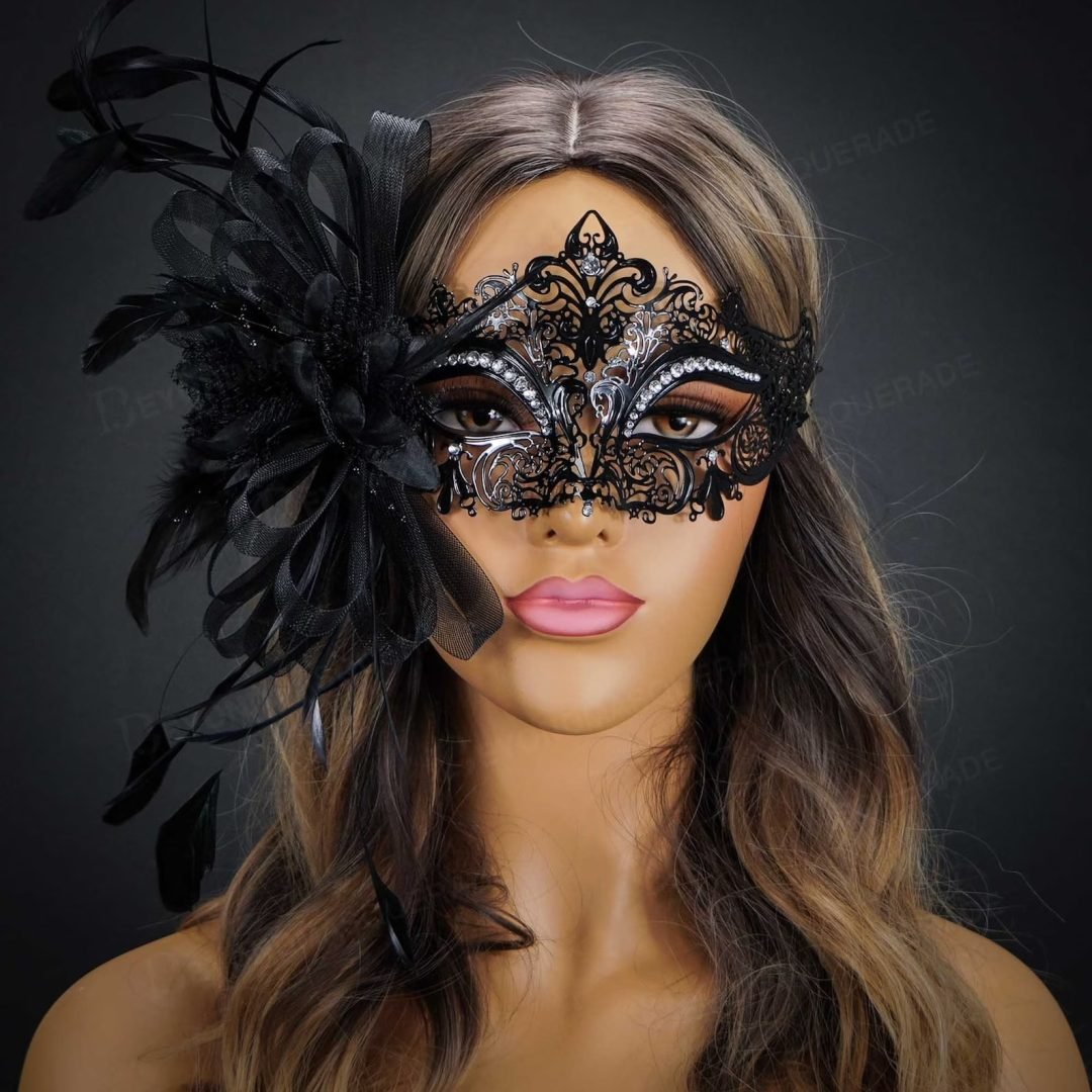 What to wear at a masquerade party: Black lace mask with feathers