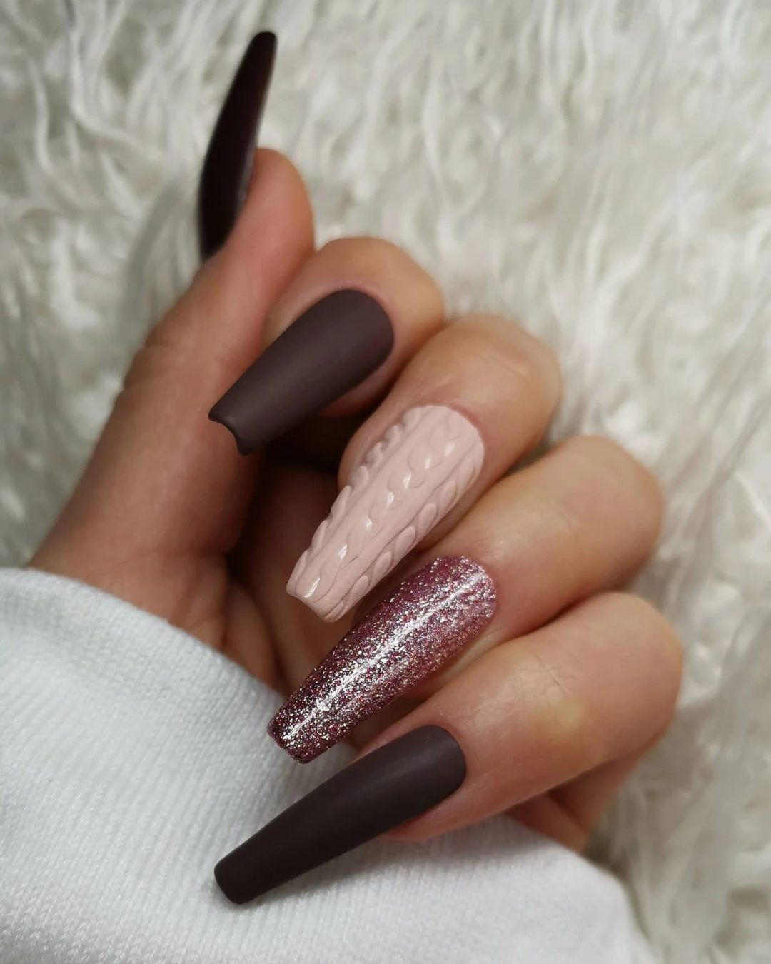 Deep brown and burgundy and blush pink sweater nails