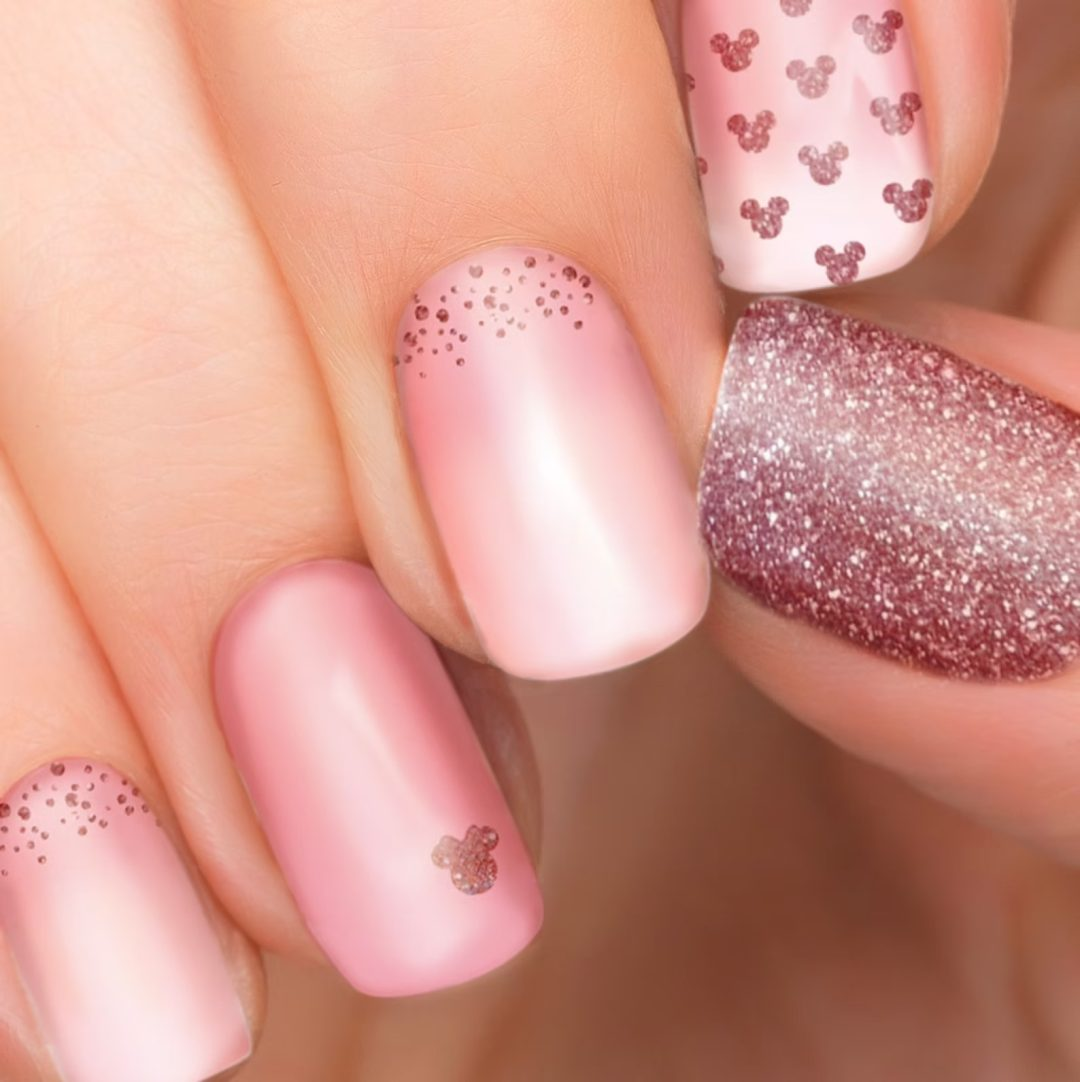 Rose gold mickey mouse nail wraps