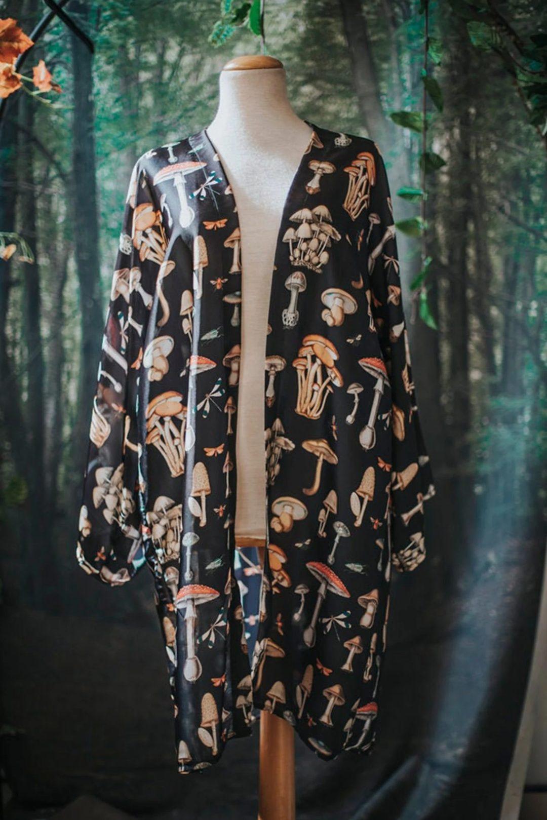 Fungi and mushroom long kimono robe
