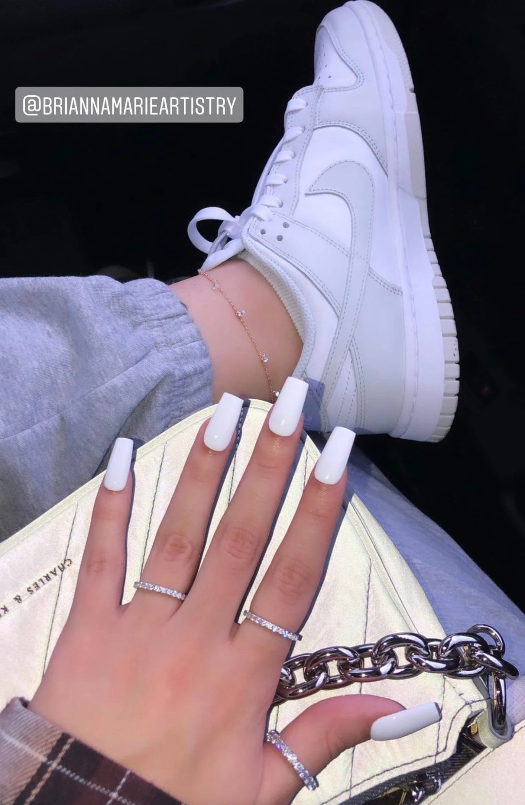 Simple white square nails