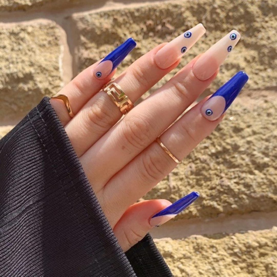 Evil eye nails with blue tips