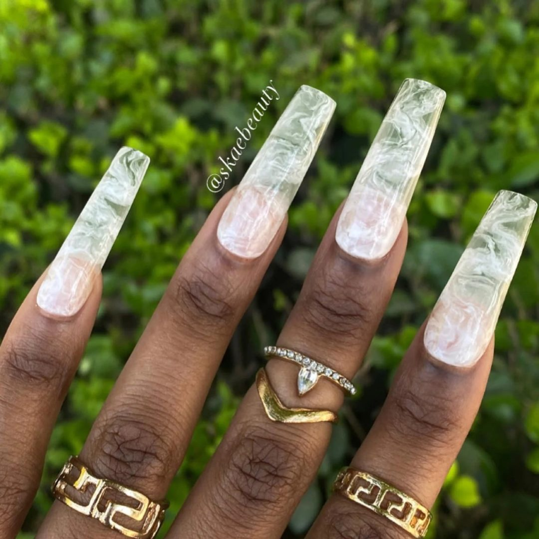 Clear white smoke square nails