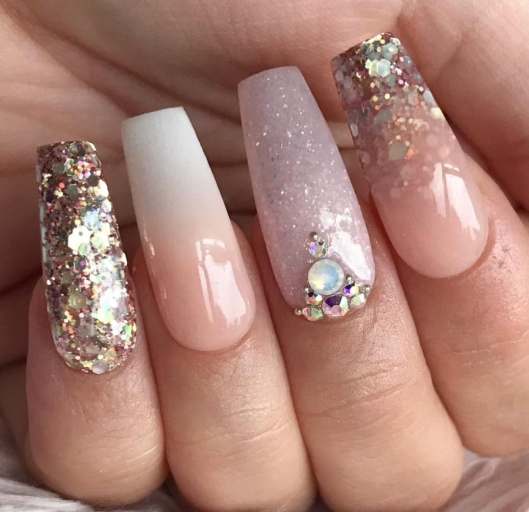 Rose gold ombre nails with chunky glitter
