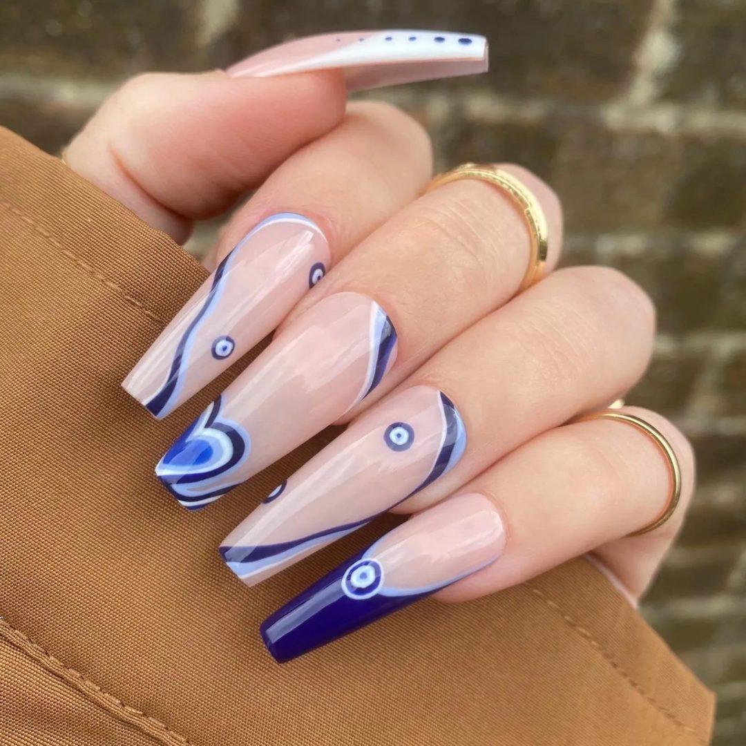 Evil eye swirly nails