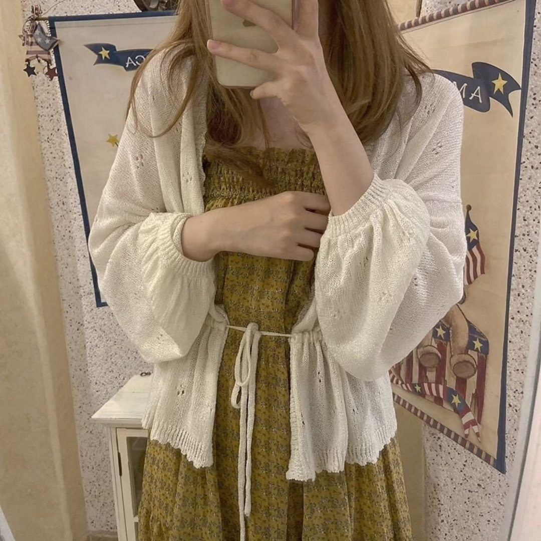 Cute outfits with white cardigan and green dress