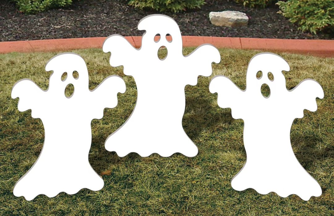 White Ghostly Trio garden stake for best outdoor Halloween decorations