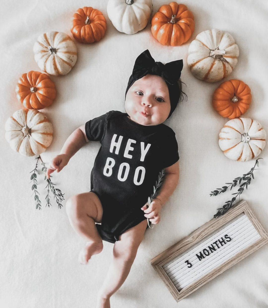 Best Newborn Halloween Costumes: Hey Boo black onesie