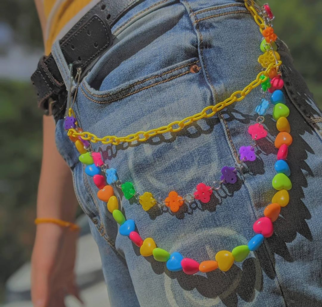 Kidcore Outfits: Beaded chain on jeans