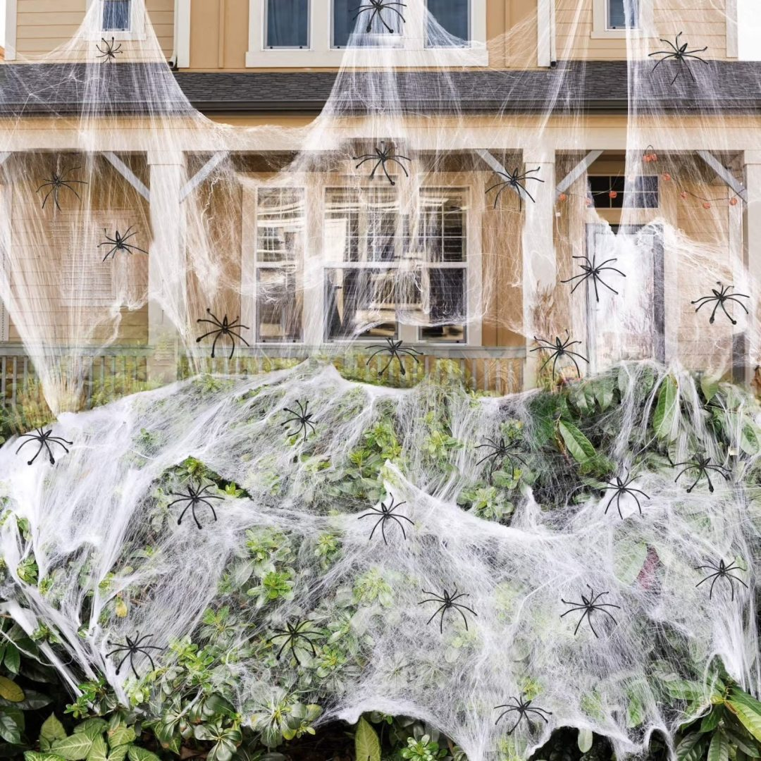 Giant Lawn Cobwebs for best outdoor Halloween decorations
