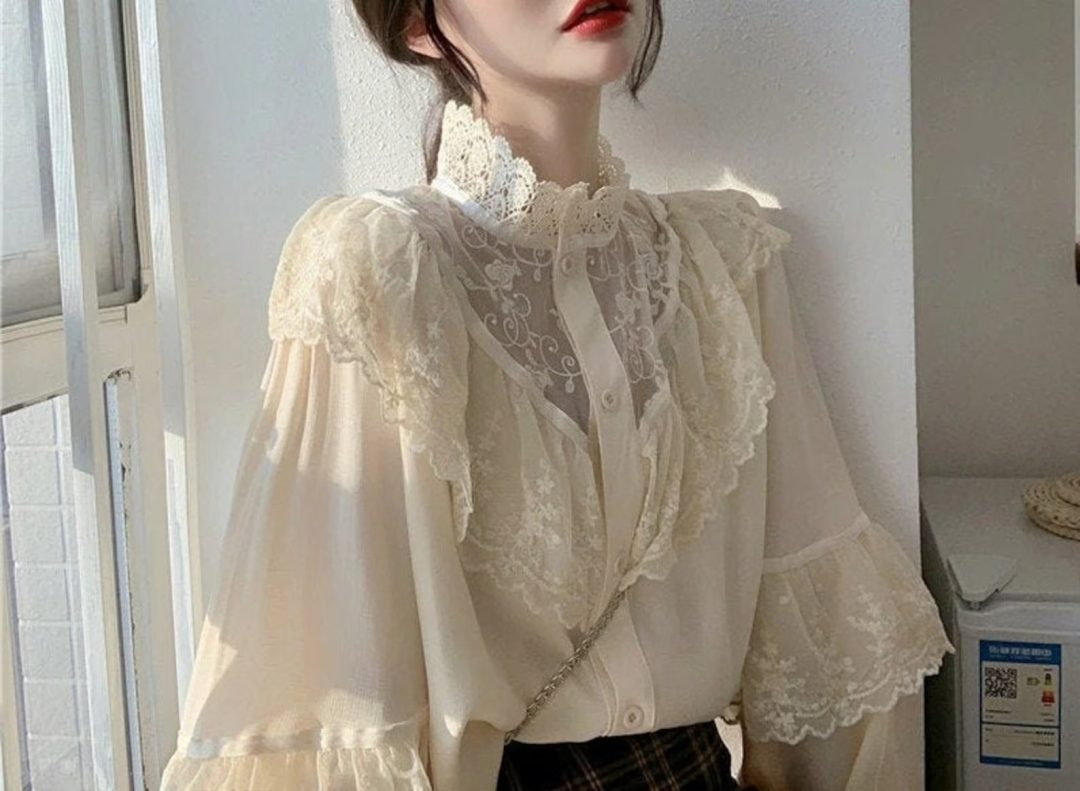 Light Academia Outfits: Victorian style lace blouse
