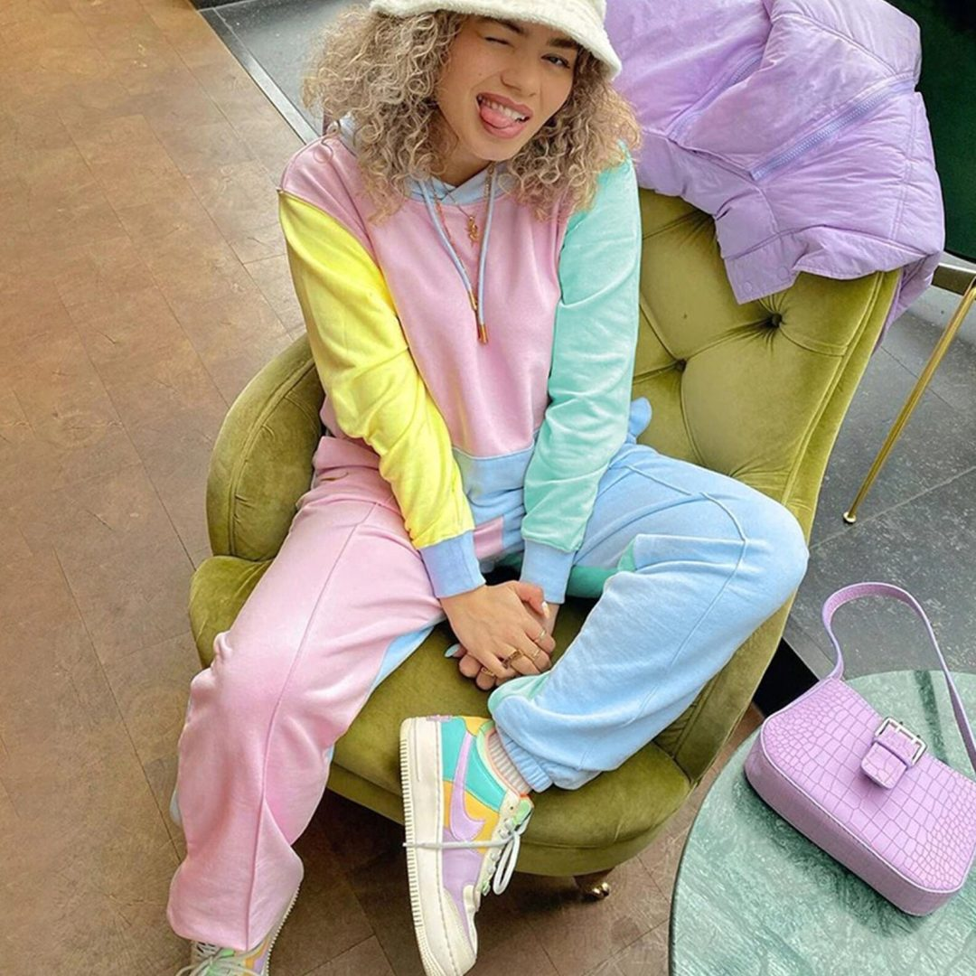 Kidcore Outfits: Pastel colorblock hoodie