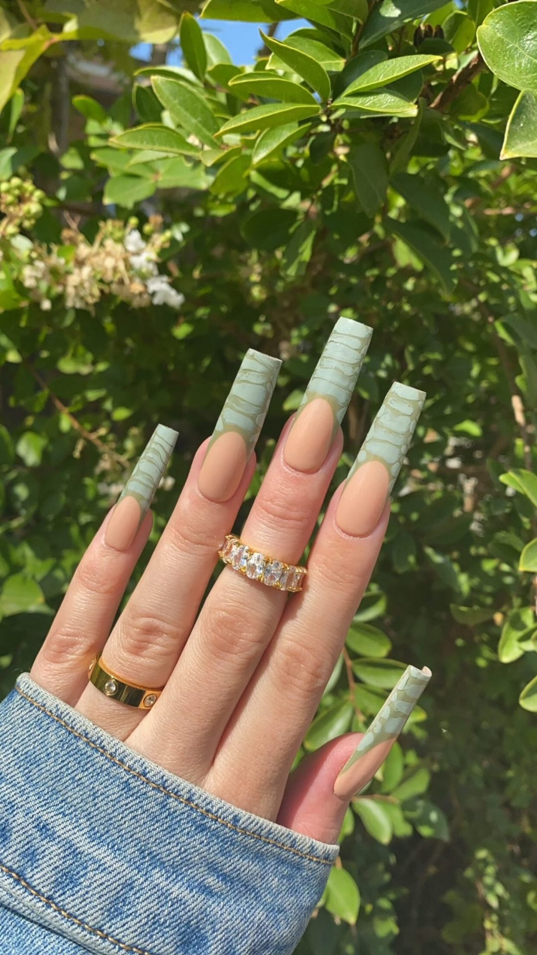Green croc print french tip square nails